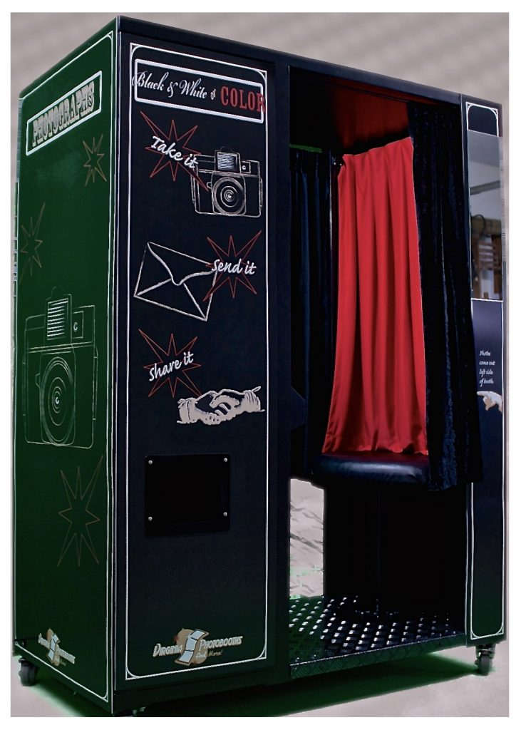 Photobooth with red curtain